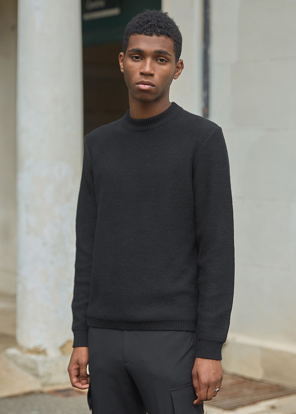 Blank Wool and Cashmere-blend Sweater - Black
