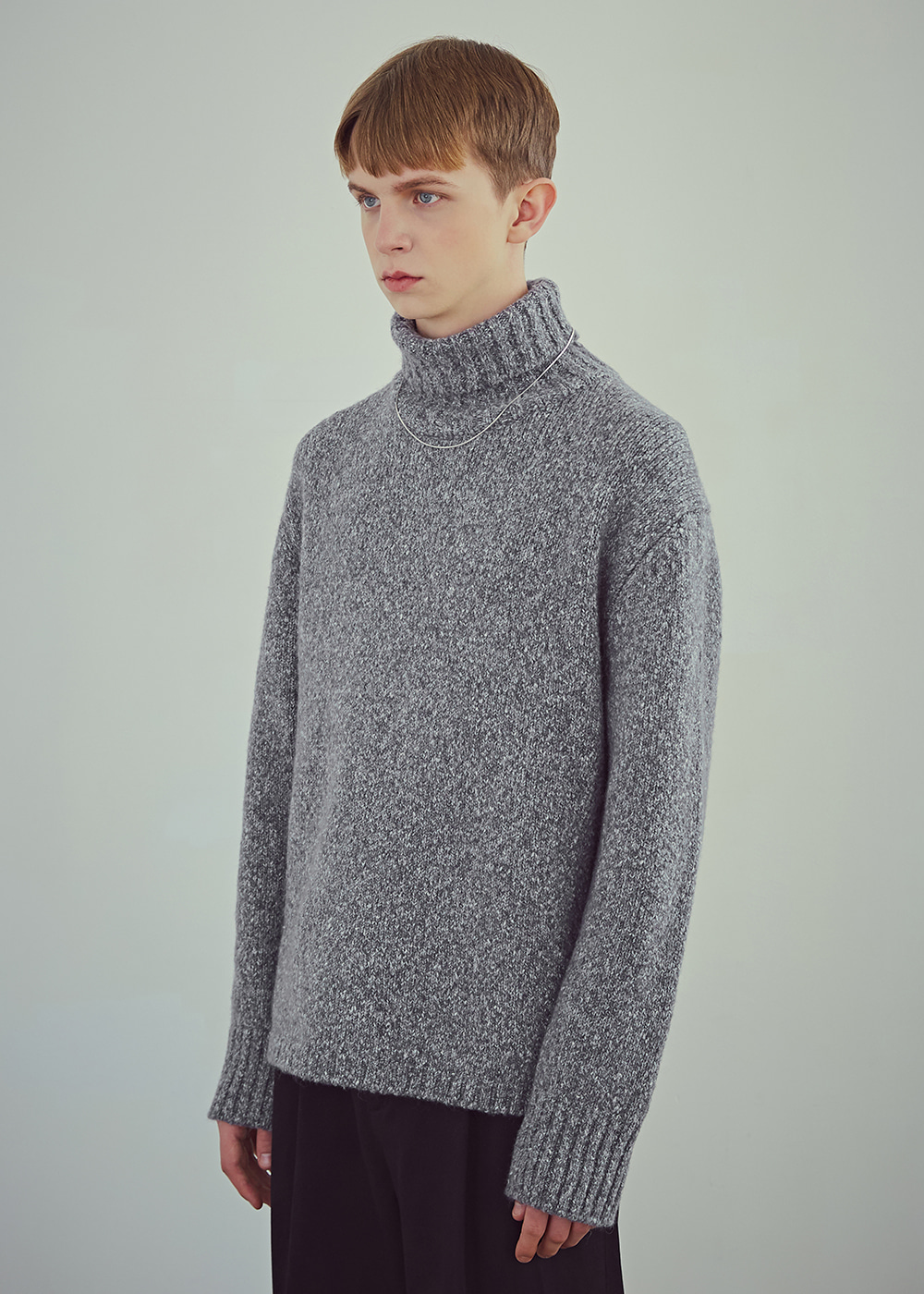 Blank Wool-Blend Roll-neck Sweater - Melange Grey