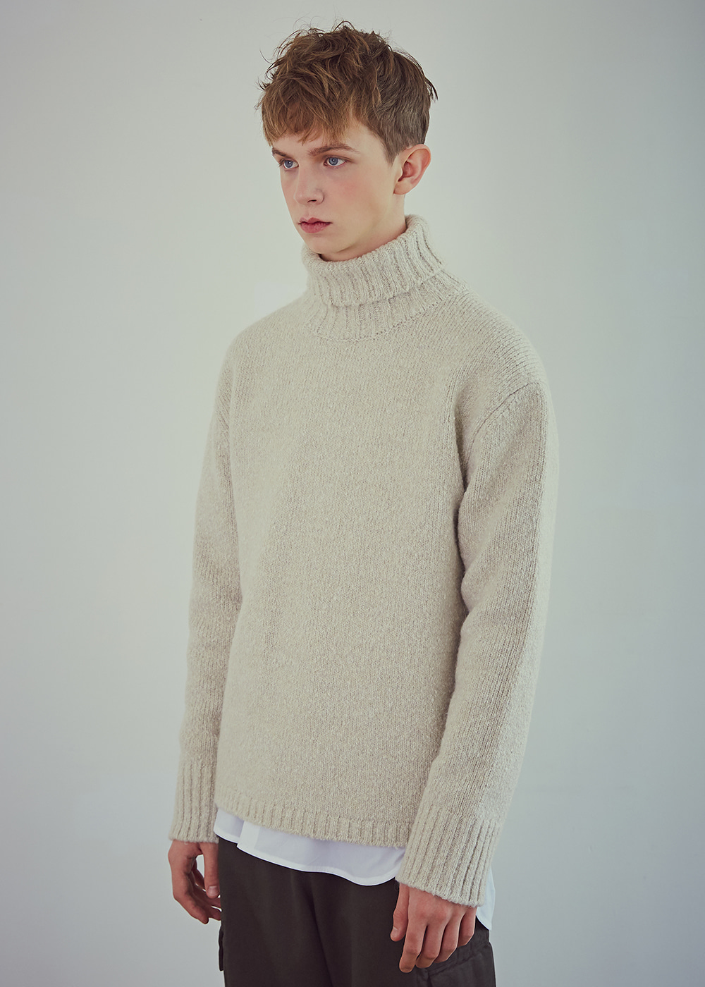 Blank Wool-Blend Roll-neck Sweater - Melange Cream
