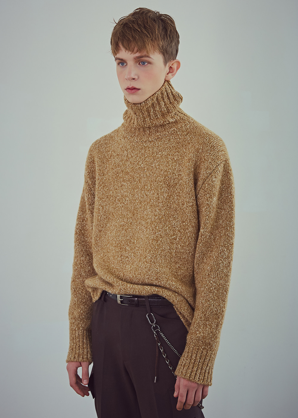 Blank Wool-Blend Roll-neck Sweater - Melange Camel