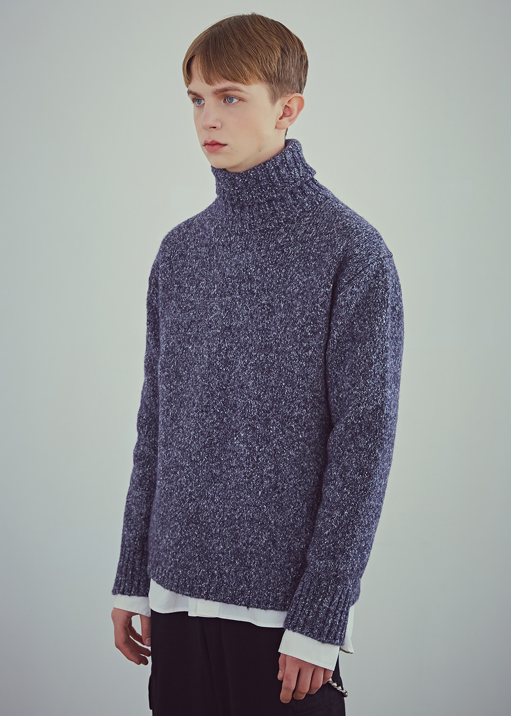 Blank Wool-Blend Roll-neck Sweater - Melange Navy